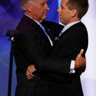 DENVER - AUGUST 27: U.S. Democratic Vice-Presidential nominee Sen. Joe Biden (D-DE) (L) hugs his son Delaware Attorney General Beau Biden, during day three of the Democratic National Convention (DNC) at the Pepsi Center August 27, 2008 in Denver, Colorado. U.S. Sen. Barack Obama (D-IL) will be officially be nominated as the Democratic candidate for U.S. president on the last day of the four-day convention. (Photo by Mark Wilson/Getty Images)