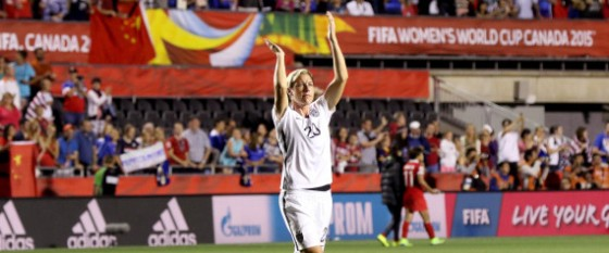 OTTAWA, ON - JUNE 26:  Abby Wambach #20 of the United States acknowledges the crowd after defeating China 1-0 in the FIFA Women's World Cup 2015 Quarter Final match at Lansdowne Stadium on June 26, 2015 in Ottawa, Canada.  (Photo by Andre Ringuette/Freestyle Photo/Getty Images)