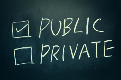 Public and Private check boxes written on a blackboard.