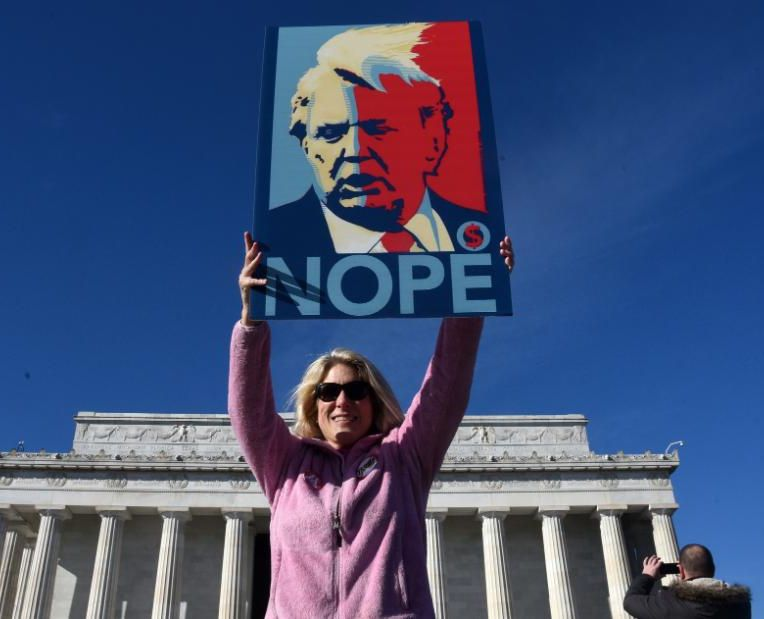 Wearing their pink hats and armed with handmade signs, thousands of people gathered in the Lincoln Memorial for the Women's March designed as both a protest of President Donald Trump's first year in office and a call for a massive voter turnout in the November midterm elections , January 20, 2018 in Washington, DC. Photo by Olivier Douliery/Abaca Press(Sipa via AP Images)