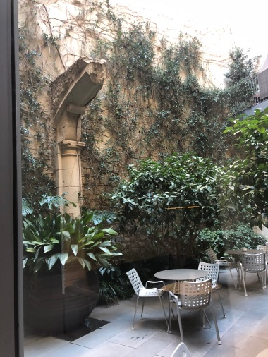 The gorgeous hotel courtyard .