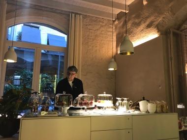 Peter inspecting the breakfast bar.