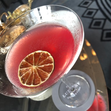 """There was literally, like an eight page cocktail menu at the beautiful Hotel Maria Christina. My """"super"""" cosmo at the Maria Christina Hotel in San Sebastian. Eat your heart out Carrie!"""