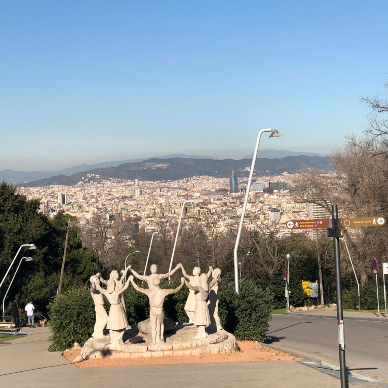 A joyful sculpture on the walk down from the Montjuic Caste.