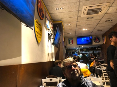 Watching Barcelona vs. Madrid in an Italian Sports Bar. Delish pizza. For me a very welcome change from the smell of fish.